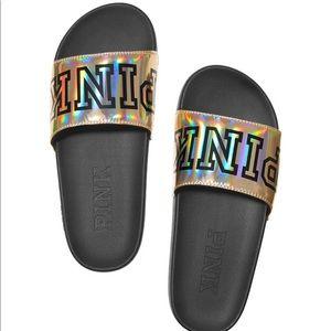 Shoes - Pink Single Strap Slide Sandal